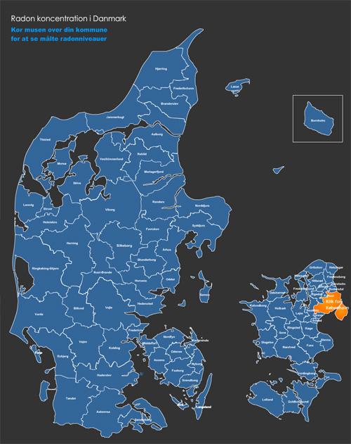 Pu72c8f1 Radonmaling Radon Forekomsts Kort Over Danmark Maling Af